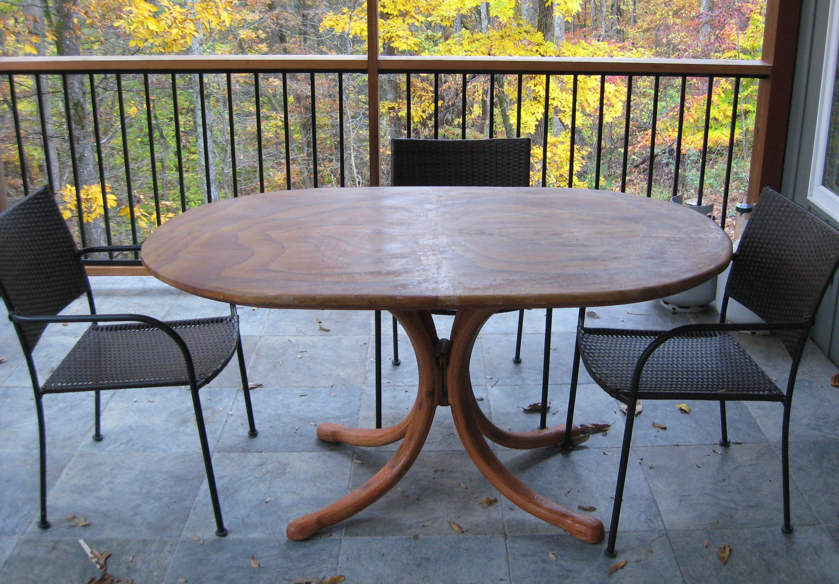 Patio table with sandstone top features accommodations for six around 5 feet x 3 feet elliptical top four rainbow sandstone landscape flagstone 30 x 18